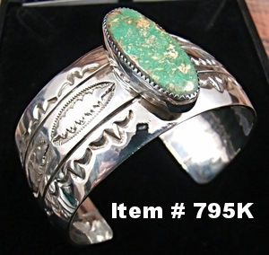 Wide Mans Navajo Royston Green Turquoise Decorative Stamped Bracelet by T.Teller