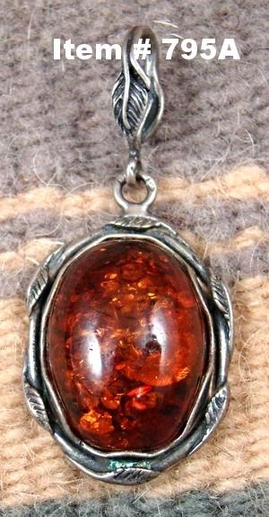 Vintage Baltic Amber Leaf Decorated Pendant