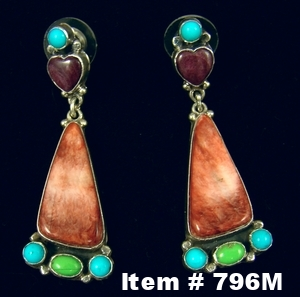 Lg Navajo High End Multi Stone Earrings by Roie Jaque