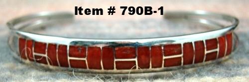 Zuni 22pc Branch Coral Brick Inlay Bracelet