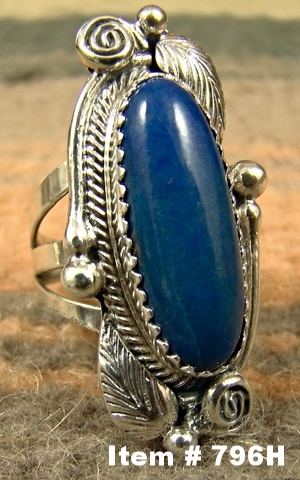 Navajo Oblong Lapis Leaf Decorated Ring by G.Begay Sz 6 1/4
