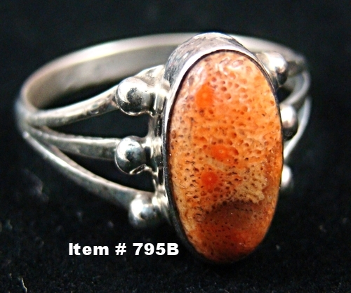 Navajo Apple Coral Ring Sz 9 1/4