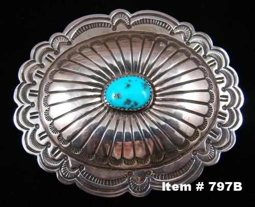Navajo Turquoise Prayer Feather-Sunrise Concho Belt Buckle by J.Blackgoat