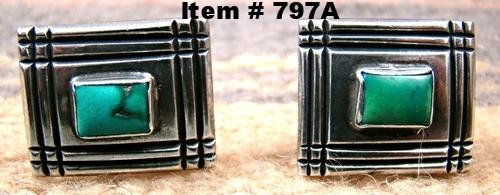 Vintage Navajo Turquoise Decorative Stamped Cufflinks