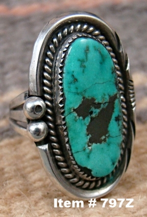 Vintage Navajo Oblong Turquoise Ring Sz 4 1/4