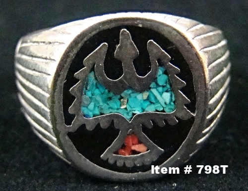 Vintage Southwest Turquoise Coral Inlay Thunderbird-Waterbird Cast Ring Sz 12 1/4