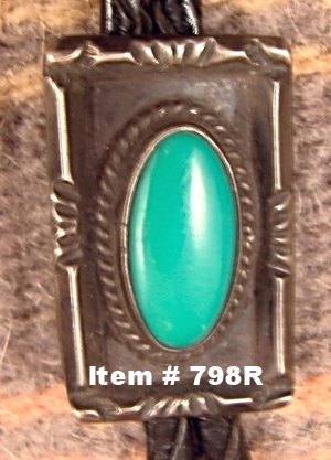 Sm Vintage Navajo Turquoise Decorated Bolo
