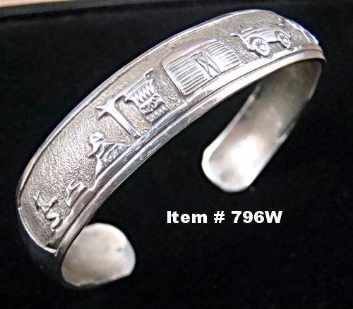Vintage Navajo Silver Overlay Storyteller Bracelet