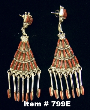 Long Zuni 50pc Coral Needlepoint Earrings w/Coral Spoons by B.Wyaco