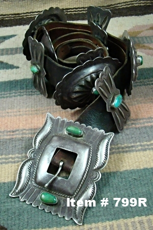 XLG Heavy Vint 40s-50's Turquoise Repousse' Stamped Conch Belt