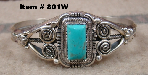Navajo Rectangular Turquoise Silver Decorated Bracelet by R.Jaque