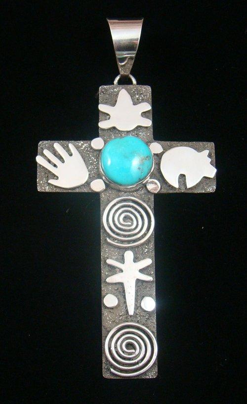 Item 806t Xlg 4 12 Tall Navajo Turquoise Spiritual Symbols Cross