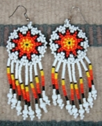 Item # 364Z- Beaded Sun Rosette Earrings