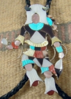 Item # 652R-XLG Zuni Multistone Inlay Buffalo Dancer Bolo