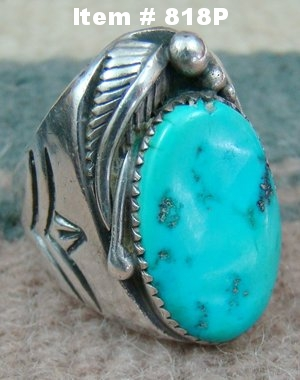 Item #818P-Lg Vintage 60's-70's Navajo Turquoise Feather Decorative Stamped Cast Ring Sz 12