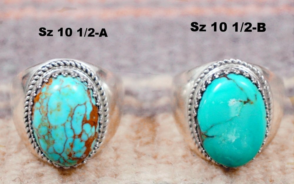 Item 693T Solid Zuni Pilot Mountain Turquoise Decorated Crown