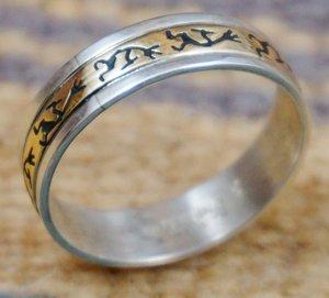 Item 809M Navajo 14K Gold Sterling Silver Full Wrap Kokopelli Ring Band By S Skeet Sz 13