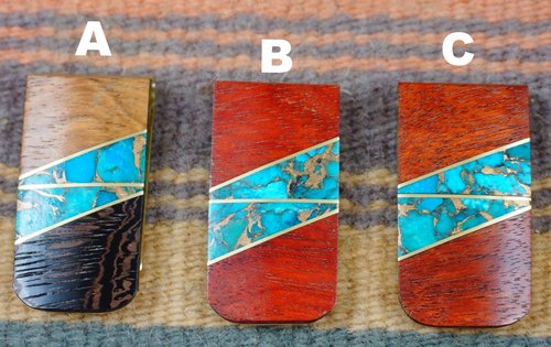 Item #829H- Mohagany or Walnut Brass Infused Turquoise Inlay Money Clips
