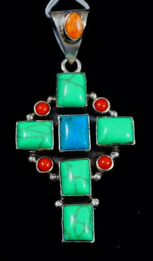 index copper green silver turquoise sterling pendant ag