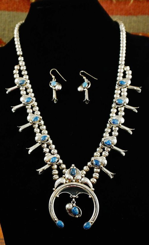 Native American Necklace Squashblossom And Earrings Set Eagle Rock