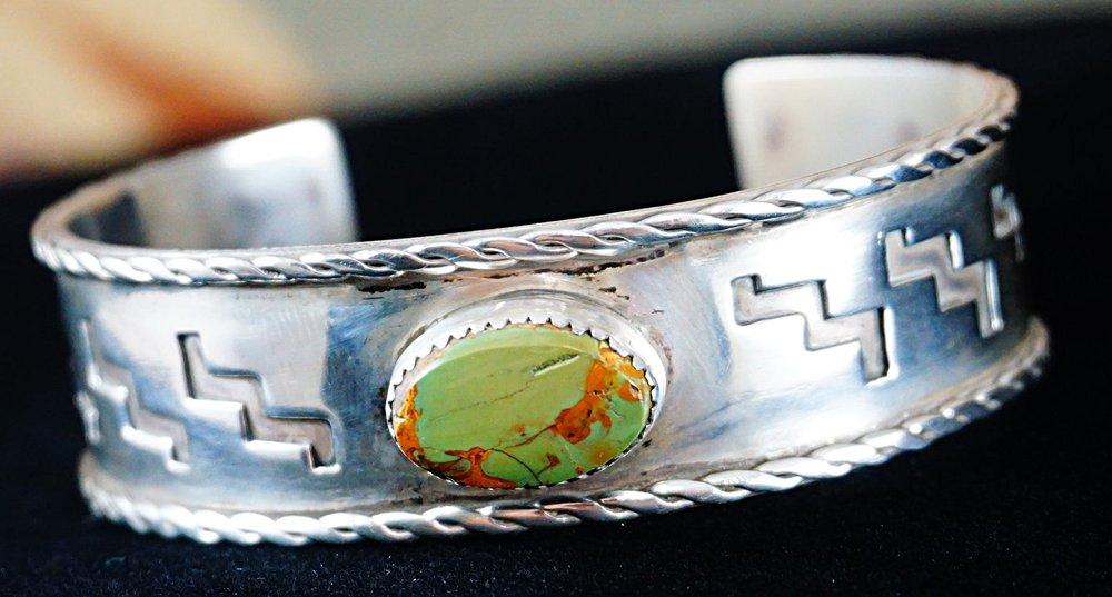 Item 734m Navajo Manassa Turquoise Running Water Symbol Bracelet