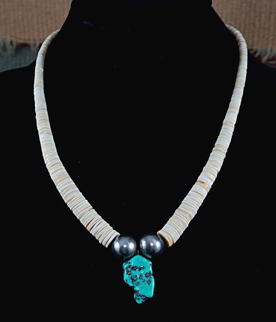 ksvhs necklace beautiful turquoise with clasp heishi sterling silver vintage
