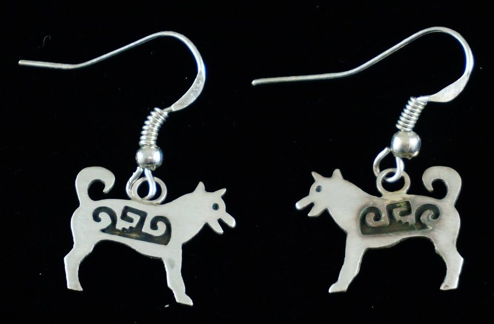 Item 681p Navajo Symbolized Overlay Dog Earrings By Rne