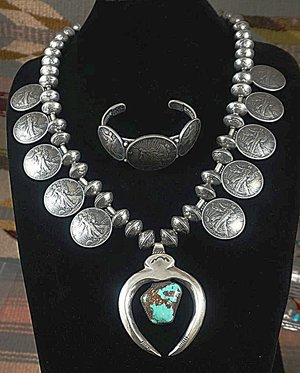 Item 839e xlg heavy vintage taos coin squash necklace wturquoise item 839e xlg heavy vintage taos coin squash necklace wturquoise nugget naja and bracelet set by buffalo dancer aloadofball Choice Image