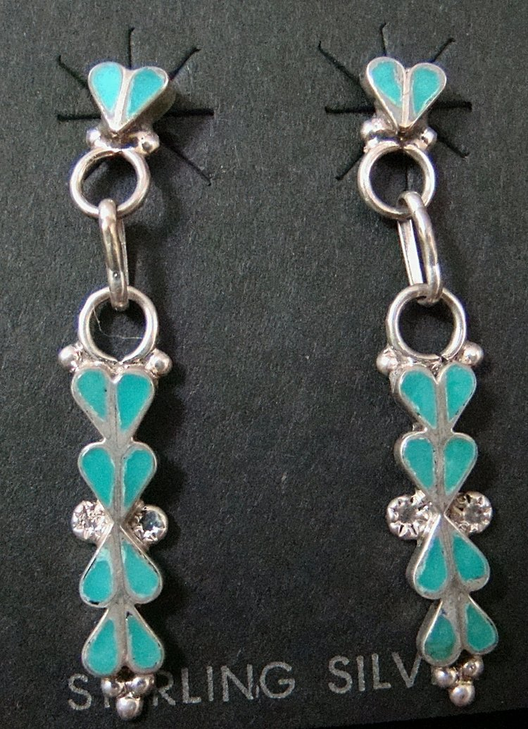 9b3565a5d Item # 703K -Zuni 20pc Turquoise Inlay Teardrop-Heart Silver Earrings by  N.Latone