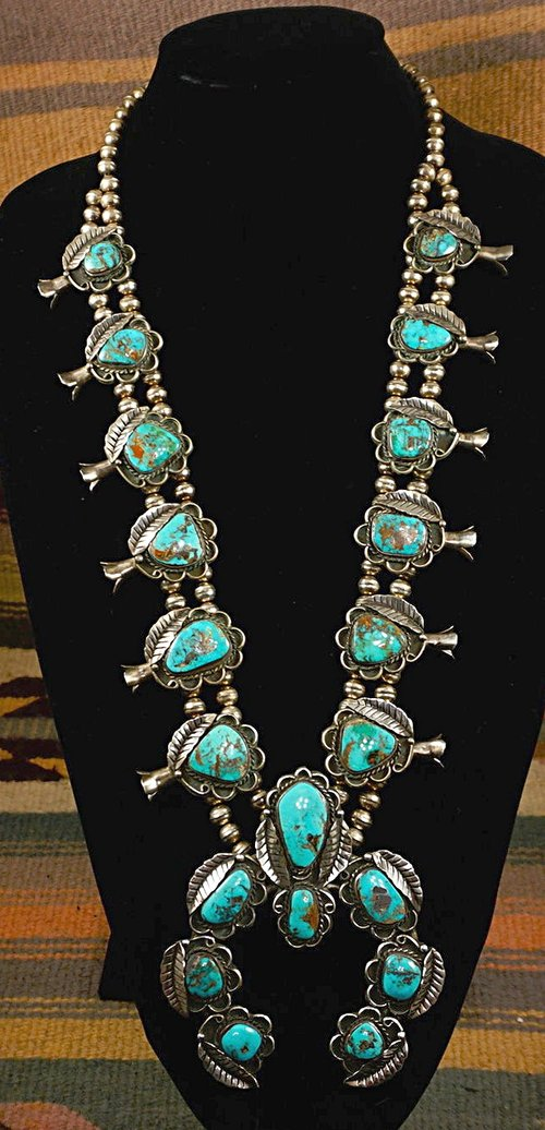 2538ad1199f0 Item  844K- XLG Vintage 50 s-70 s Navajo Turquoise Silver Leaves Squashblossom  Necklace