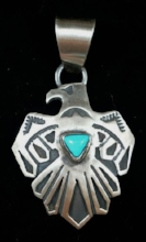 Item #847F- Navajo Turquoise Silver Thunderbird Overlay Pendant by Lee Short y