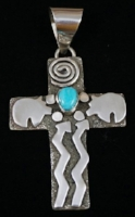 Symbol meanings eagle rock trading post native american jewelry item 821m lg navajo turquoise spiritual life symbols cross pendant by anchez aloadofball Images