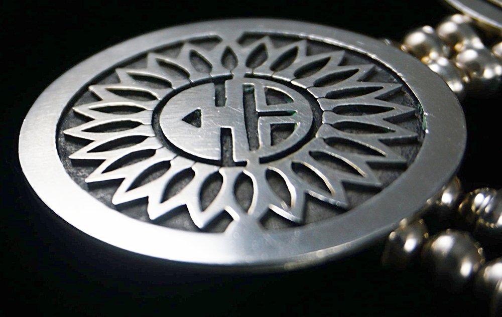 Item 851b Vintage 9pc Hopi Silver Symbols Overlay Necklace