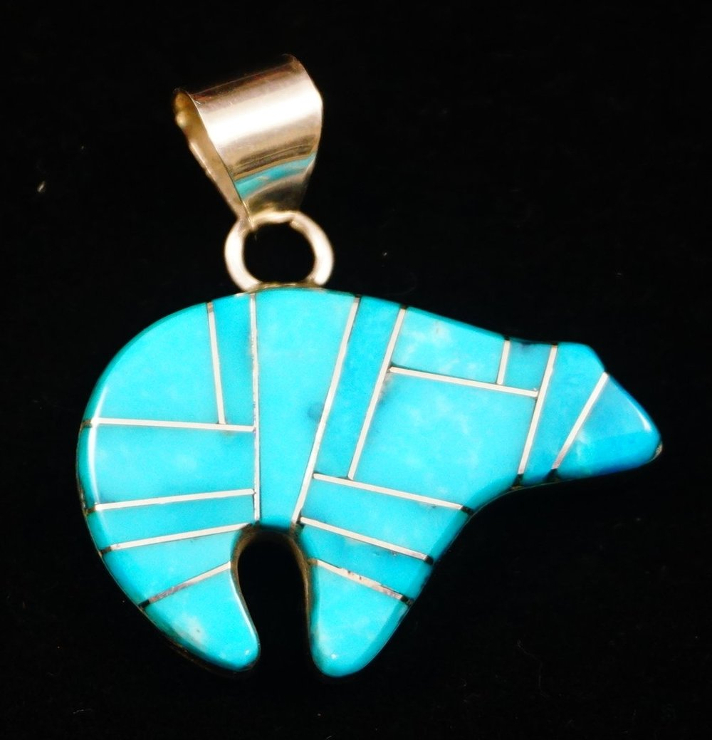 Item 852e navajo turquoise inlay spirit bear pendant by l mccray item 852e navajo turquoise inlay spirit bear pendant by l mccray native american turquoise pins and pendants eagle rock trading post native american mozeypictures Choice Image