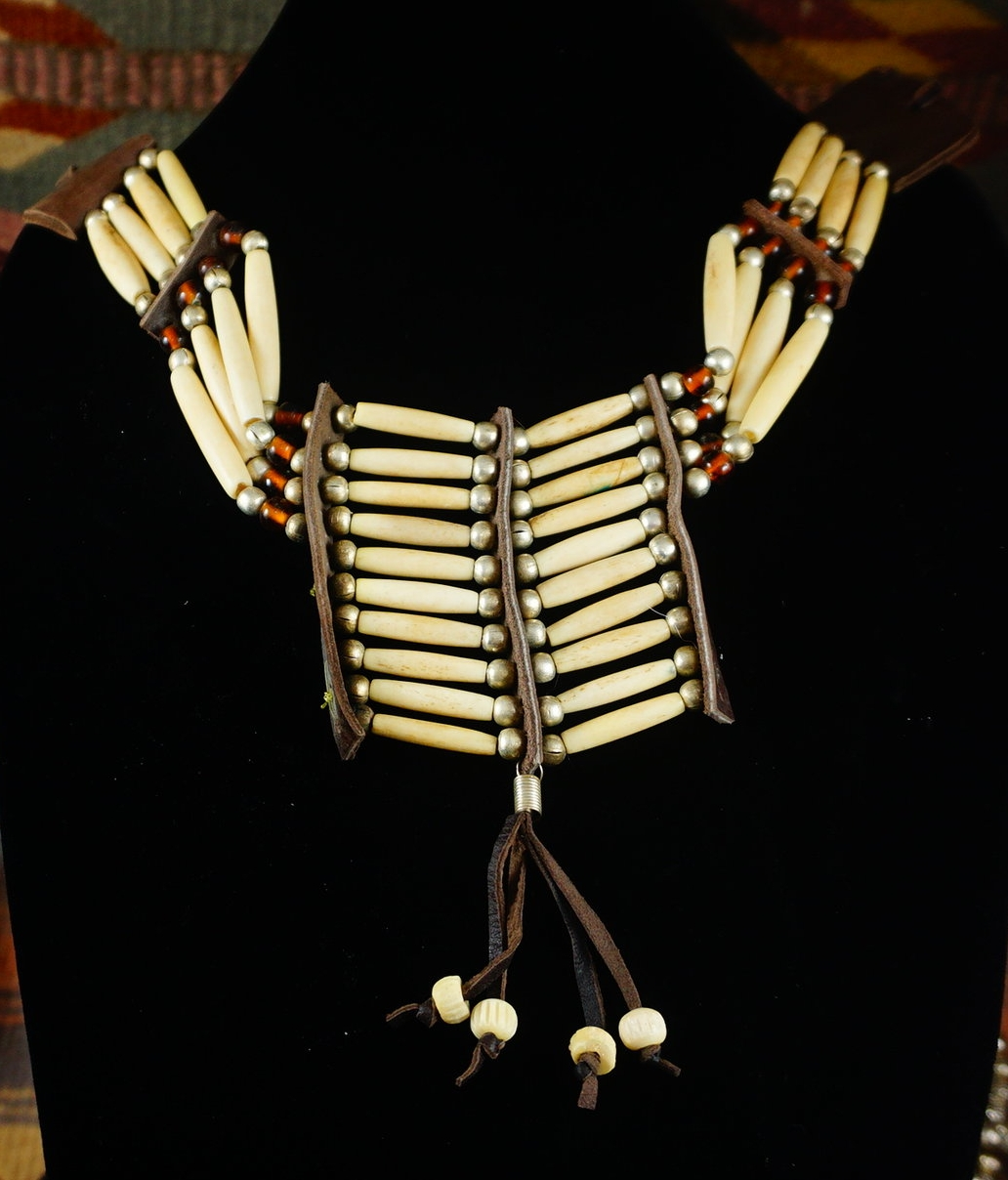 44b1f958a9fbd Item #855B- Vintage Sioux Bone, Silver and Amber Glass Beaded Choker  Necklace —*Ceramic/Bone/Seed Bead Necklaces- EAGLE ROCK TRADING POST-Native  ...
