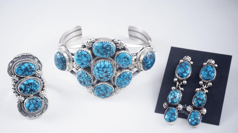 4d52f5ee2 Item #858F- High End Navajo Spiderweb Turquoise Cluster Bracelet ...