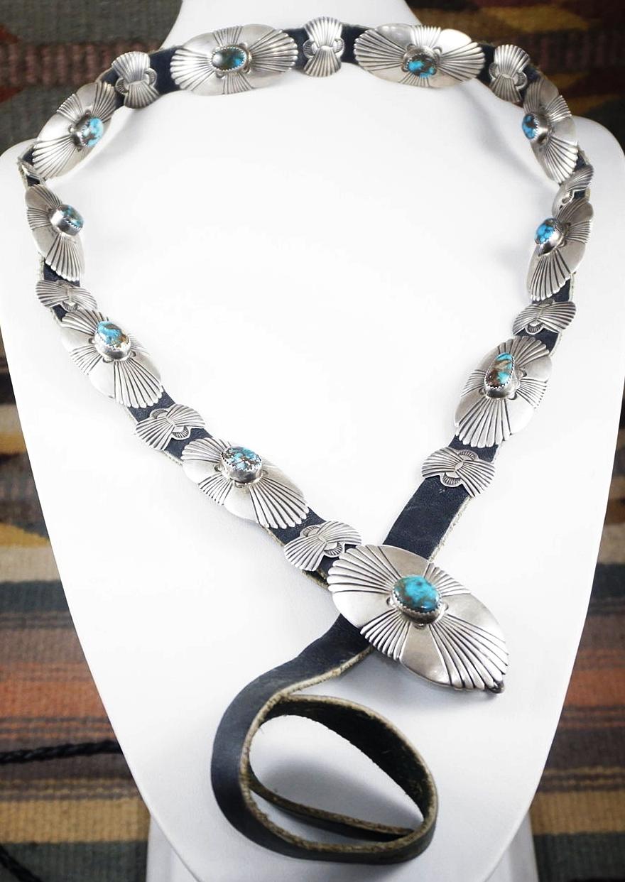 c8eb4479a Item #860T- Vintage 20pc Navajo Bisbee Turquoise Sterling Silver Sunburst  Stamped Concho Belt —Native American Turquoise & Silver Concho Belts- EAGLE  ROCK ...