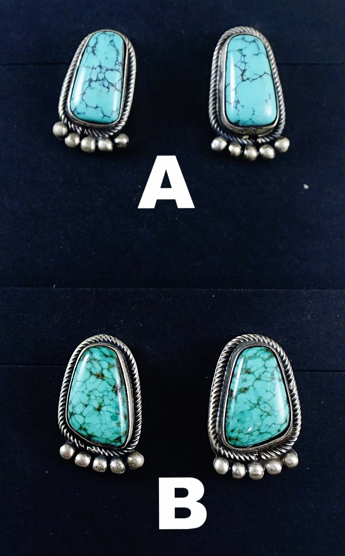 88d658131 Item #874K- Navajo Spiderweb Turquoise Silver Bear Paw Earrings by Edison  Largo —Native American Turquoise Earrings- EAGLE ROCK TRADING POST-Native  American ...