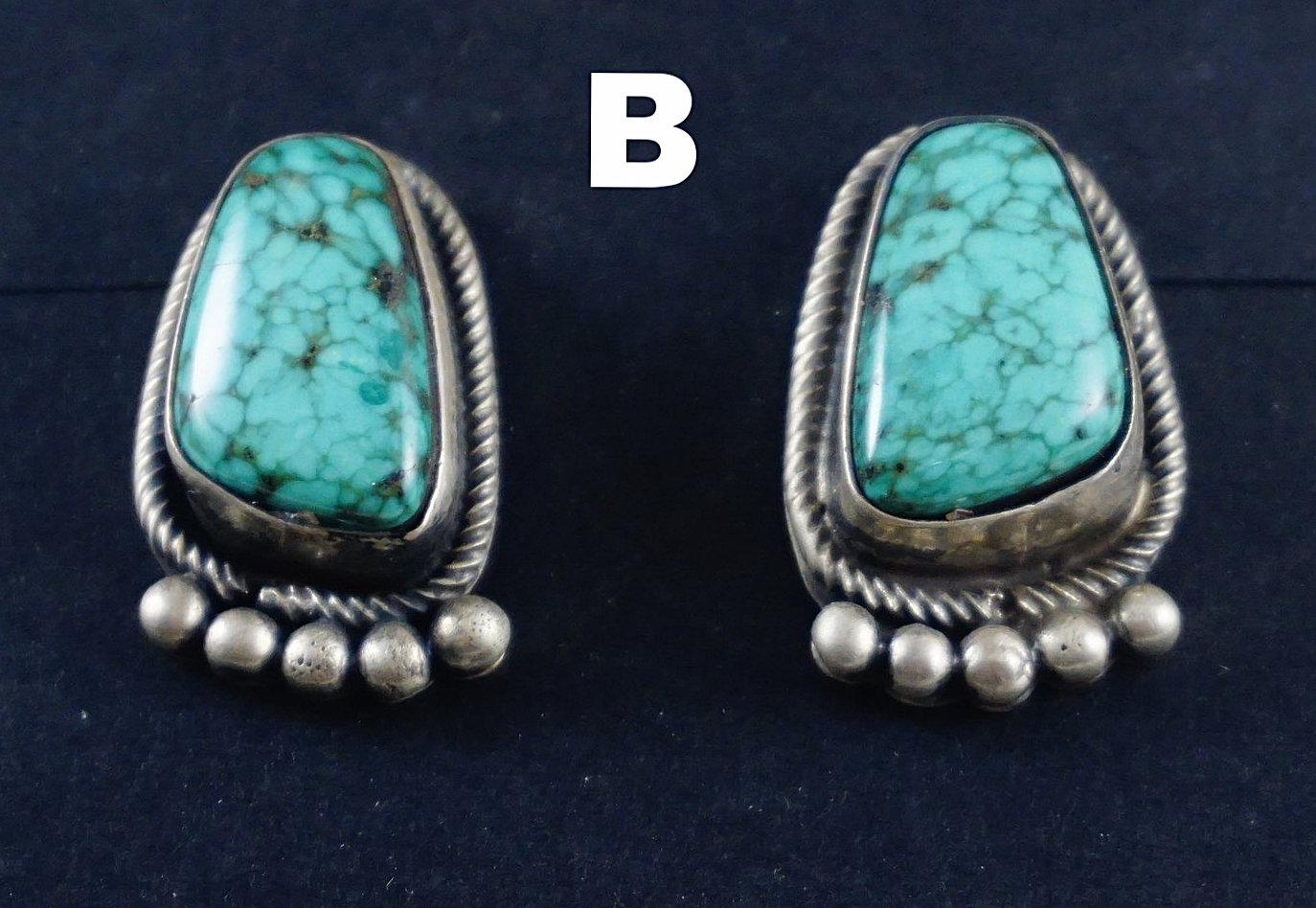 12883c029 Item #874K- Navajo Spiderweb Turquoise Silver Bear Paw Earrings by ...