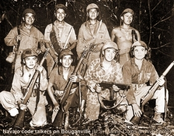Eight Navajo Code Talkers in World War II, members of groups eager to help their country.