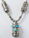 Item #879T- Vintage Navajo Turquoise Silver Drums Beaded Necklace by Clyde Woody