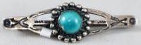Item # 606A-Vintage Navajo Turquoise Crossed Arrows Sun Stamped Brooch/Pin