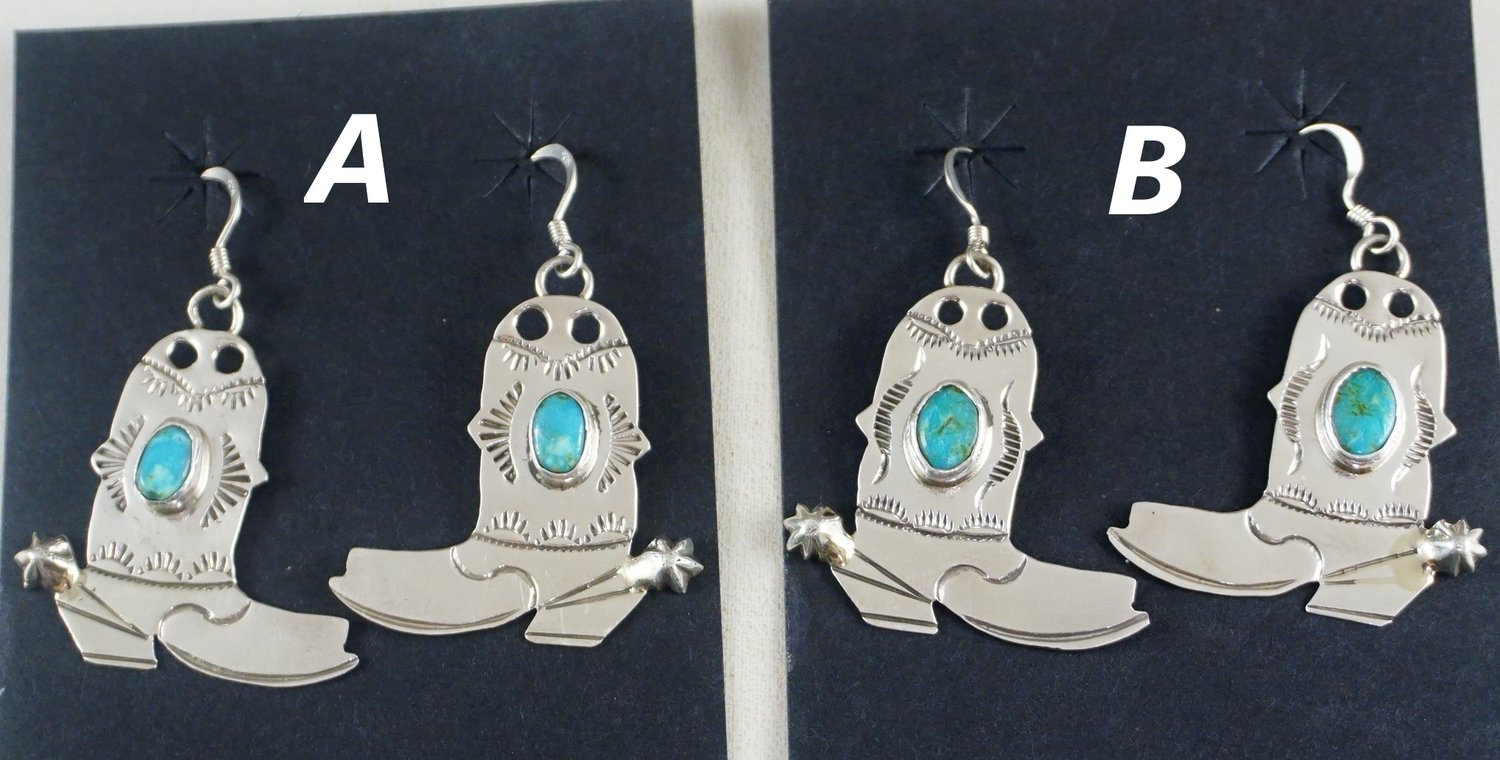 c78ebdfa3 Item #898R- Navajo Turquoise Stamped Silver Cowboy Boots Dangle Earrings by  L.Draper