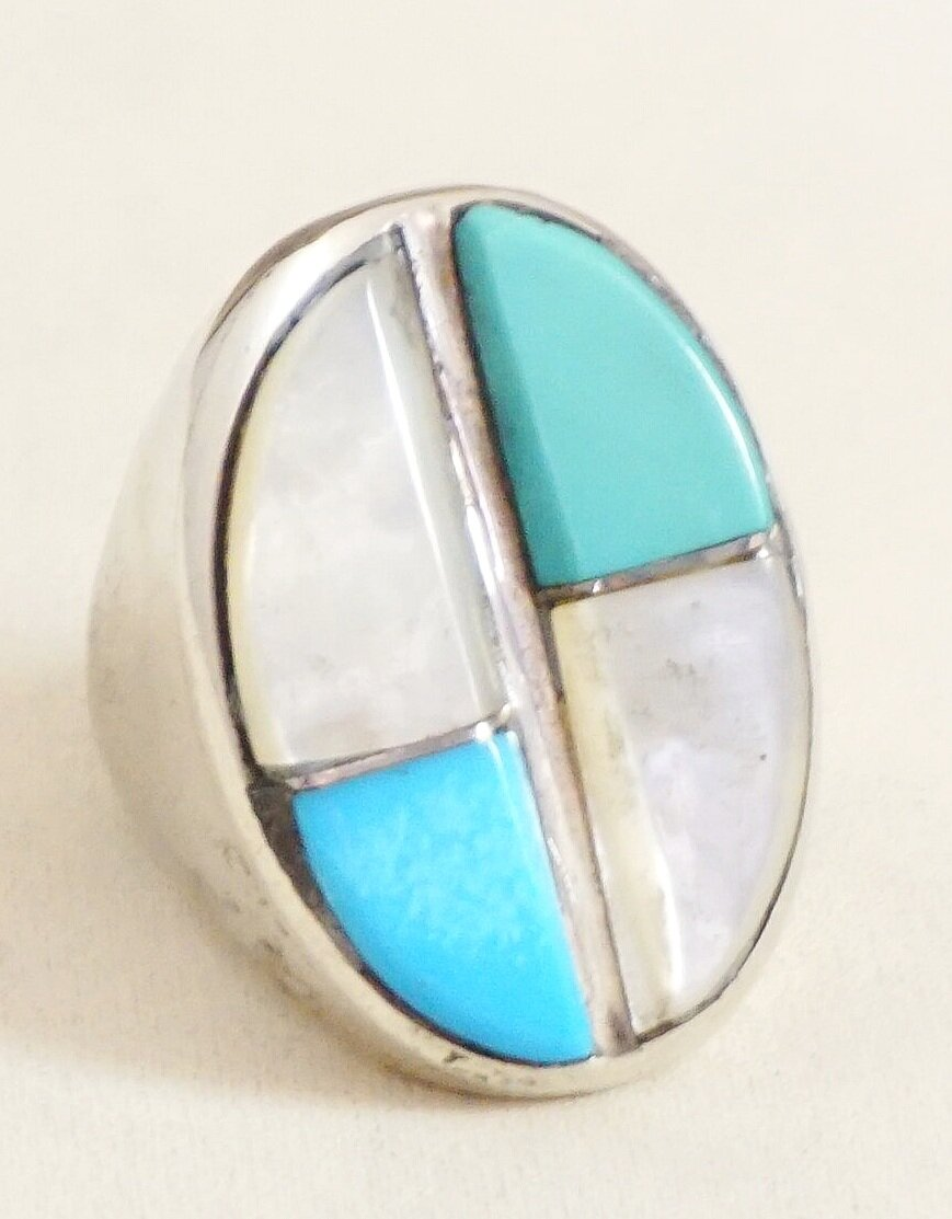 One of a Kind Ring Mens Sterling Silver Ring with Turquoise Black Onyx Mother of Pearl Navajo Size 11 Southwestern Zuni Inlay