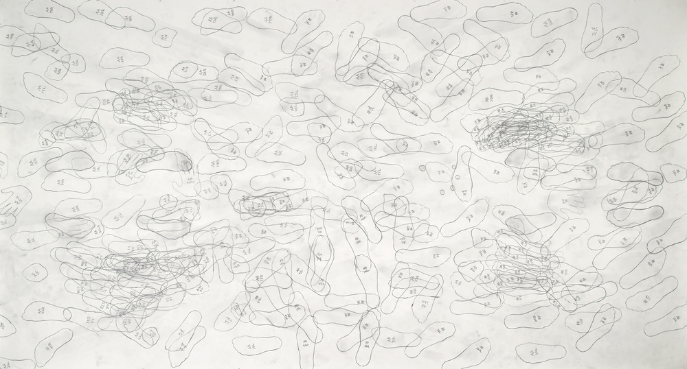 "Push AA<—>AB   (nc)  100      graphite on paper    60""x140""    2004"