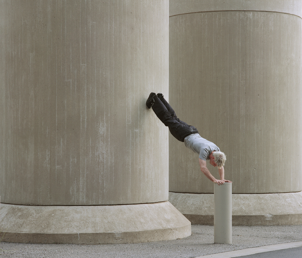 "Untitled (handstand) from Insertions series chromogenic print 30""x40"" 2001"