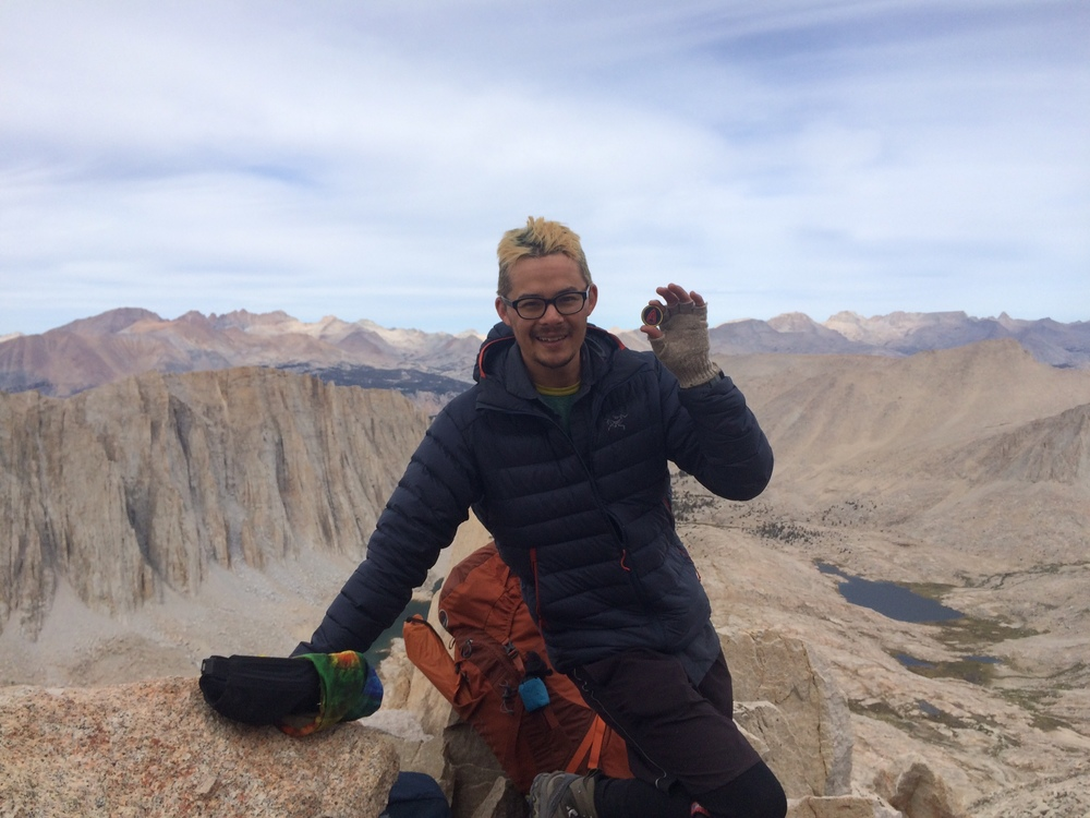 Our letterist, Michael Finn, at the base of Mount Whitney while hiking the John Muir Trail.