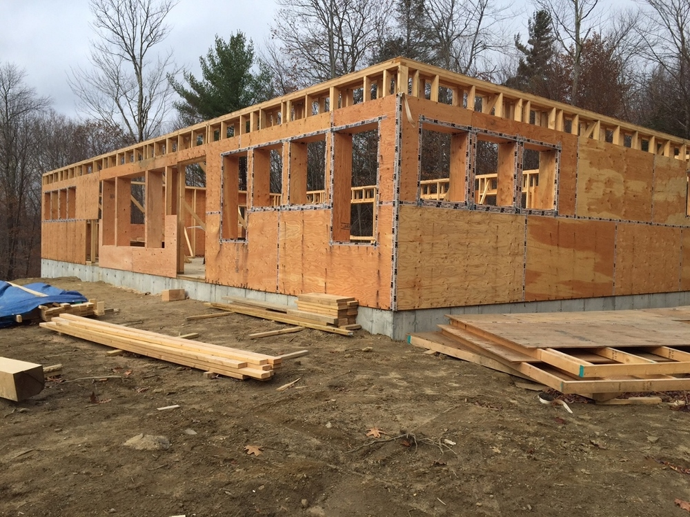 First floor double stud walls, with taped sheathing