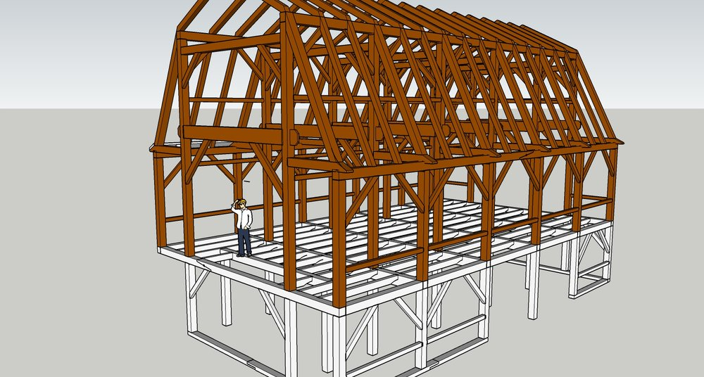 Connecticut timber frame gambrel barn 1 uncarved block inc for Timber frame barn home plans