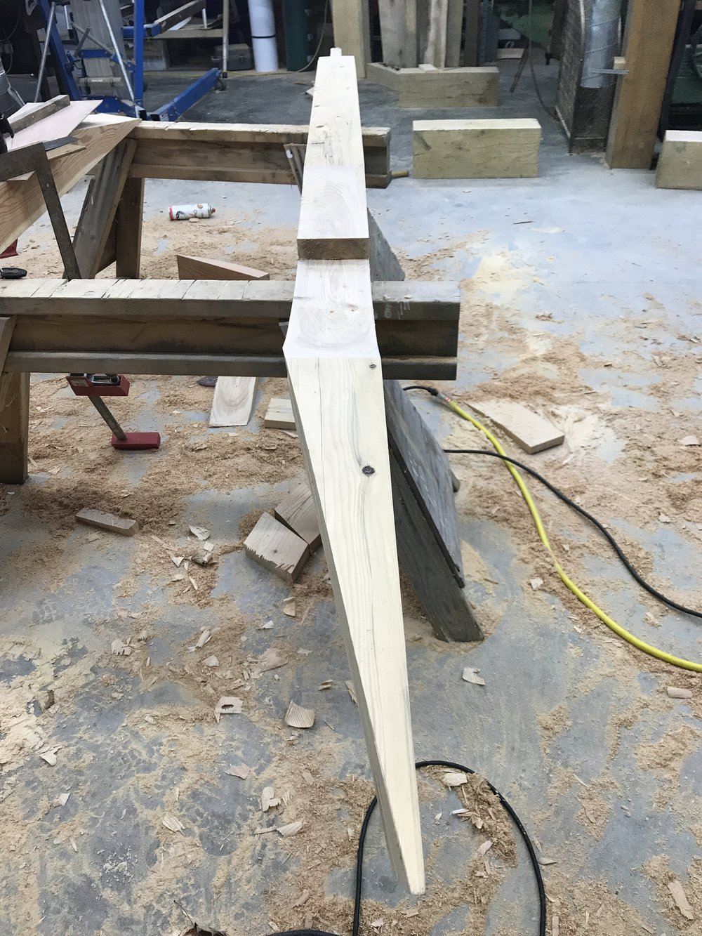 Timber frame jack rafter with long cheek cut
